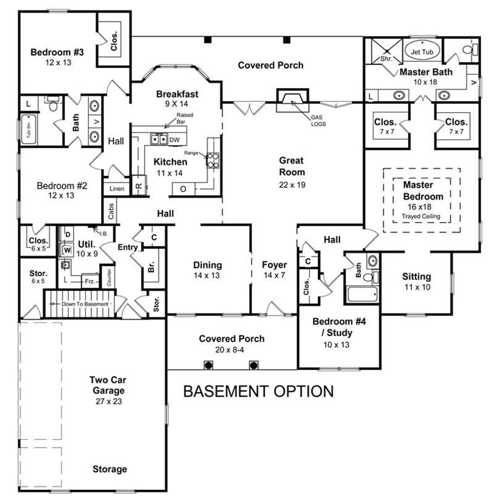 Alternate basement floor plan 1st level 3 bedroom house Ranch basement floor plans