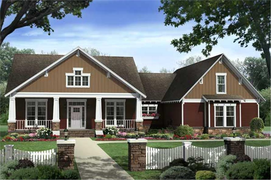 Front elevation of Country home (ThePlanCollection: House Plan #141-1132)