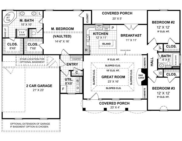 141-1134 house plan main floor
