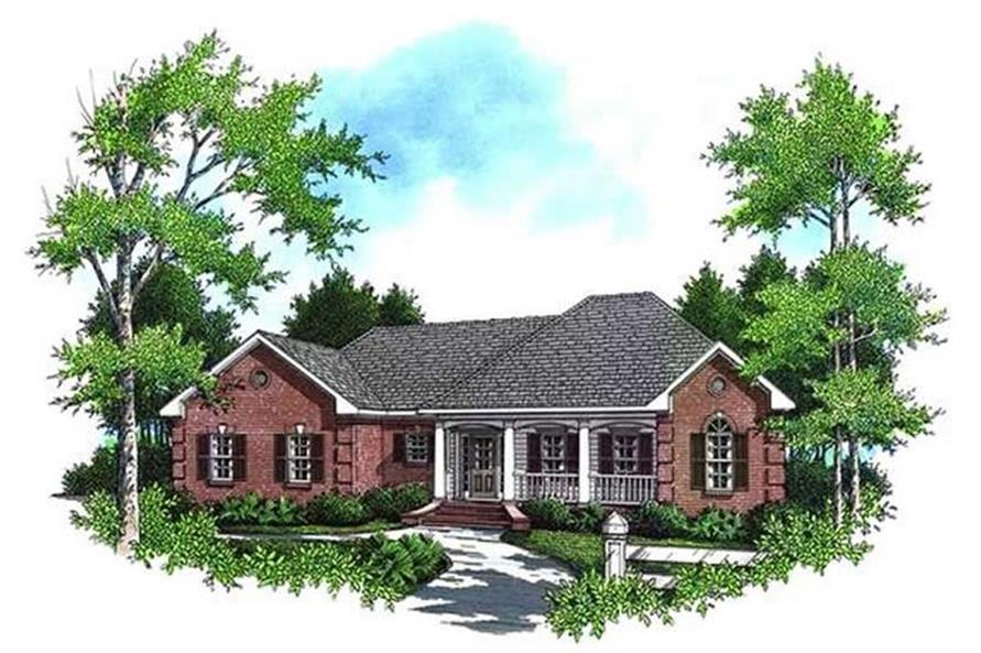 Home Plan Front Elevation of this 3-Bedroom,1654 Sq Ft Plan -141-1134