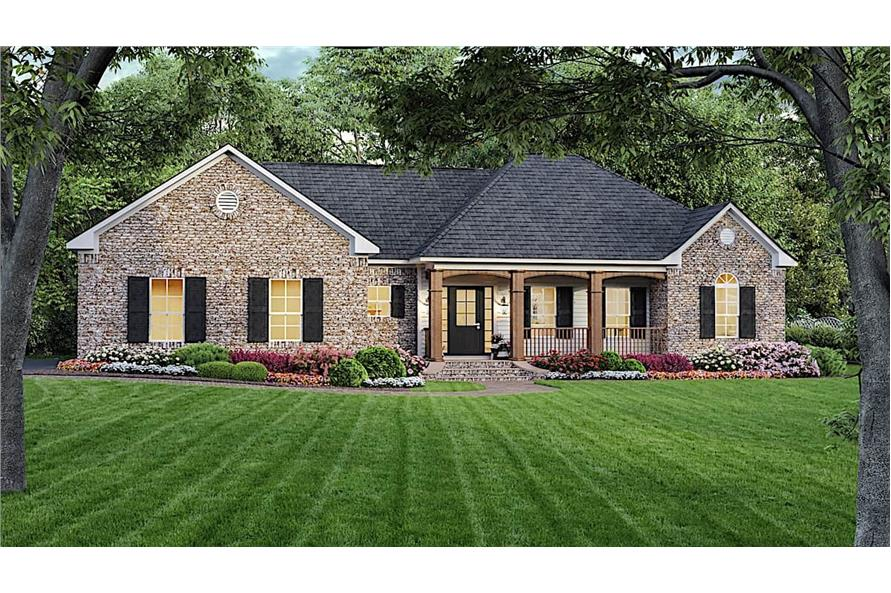 3-Bedroom, 1639 Sq Ft Ranch House - Plan #141-1135 - Front Exterior