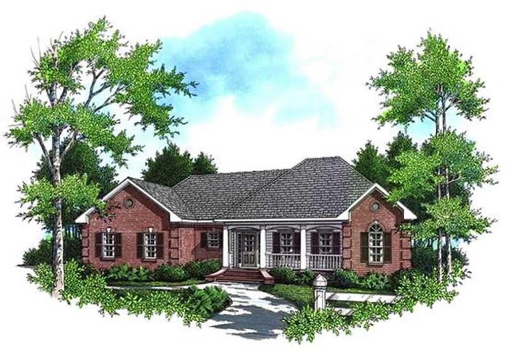 Color rendering of Ranch home plan (ThePlanCollection: House Plan #141-1135)