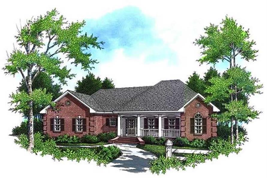3-Bedroom, 1639 Sq Ft Ranch House Plan - 141-1135 - Front Exterior