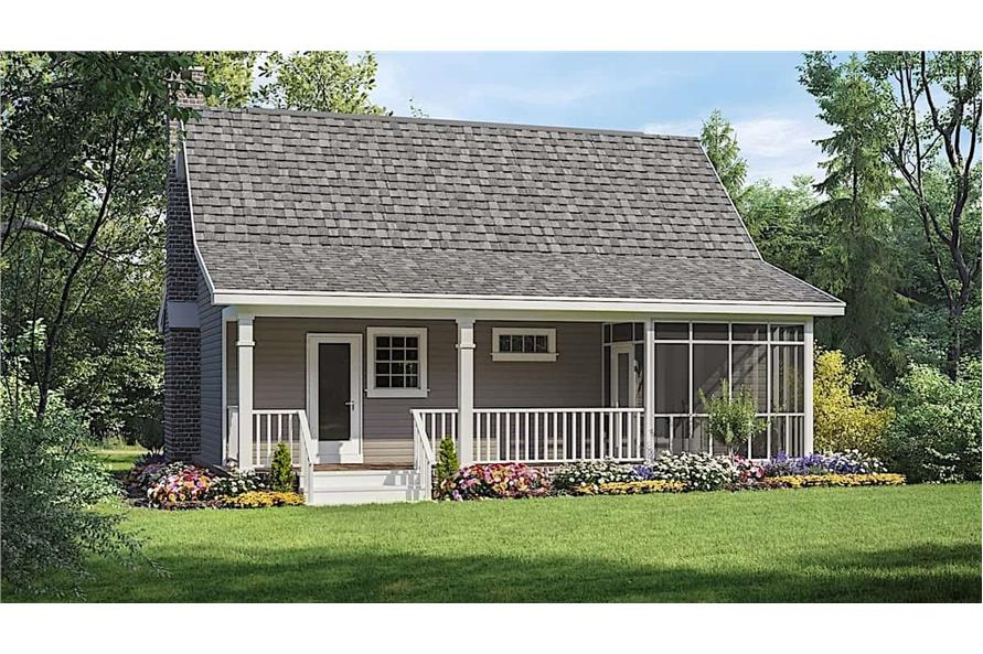 Rear View of this 1-Bedroom,600 Sq Ft Plan -141-1140