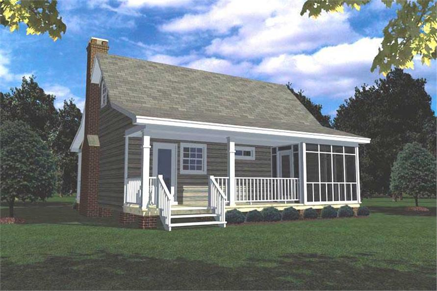 Home Plan Rear Elevation of this 1-Bedroom,600 Sq Ft Plan -141-1140