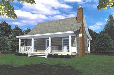 1-Bedroom, 600 Sq Ft Small House Plans - 141-1140 - Front Exterior
