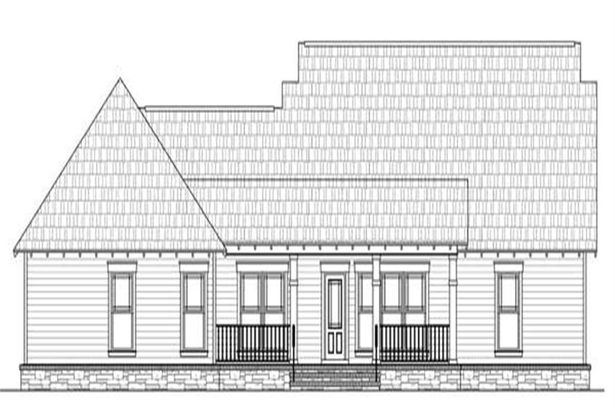 Home Plan Rear Elevation of this 3-Bedroom,1900 Sq Ft Plan -141-1144
