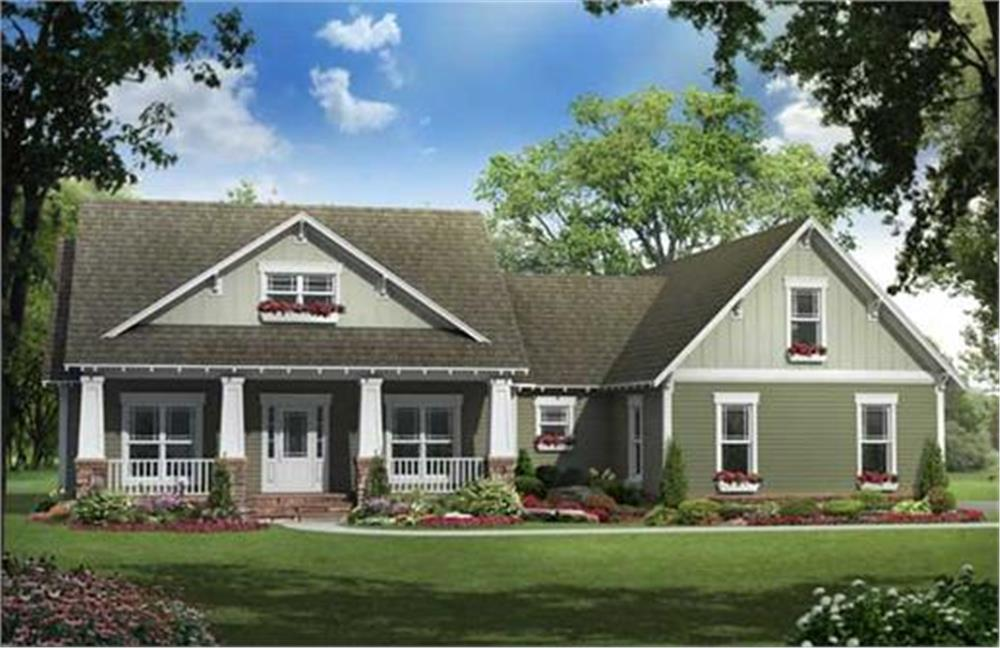 Front elevation of Craftsman home (ThePlanCollection: House Plan #141-1144)