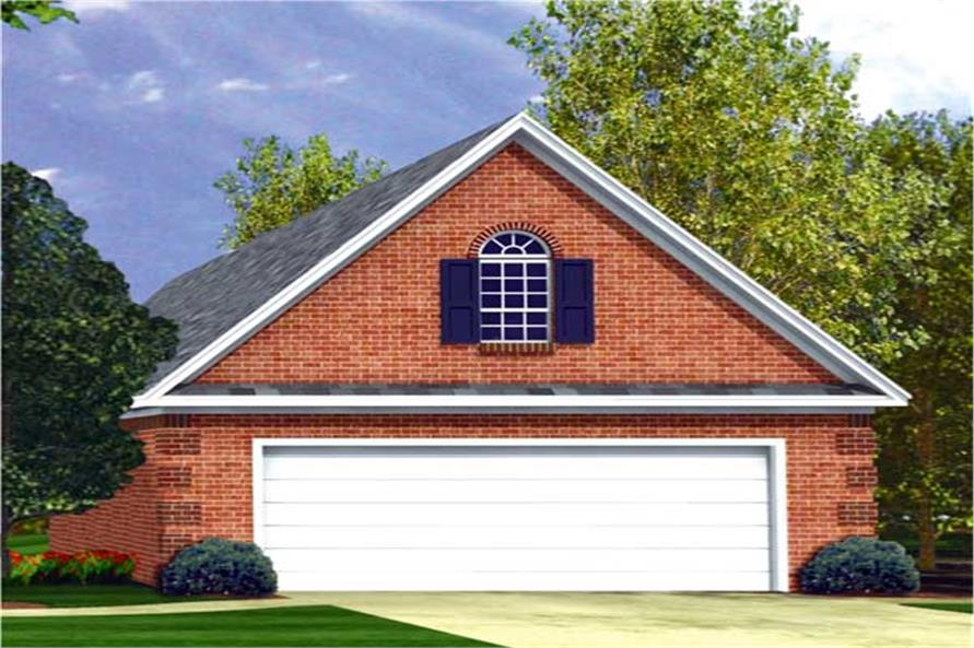 This is a colorful rendering of these Traditional Garage Home Plans.