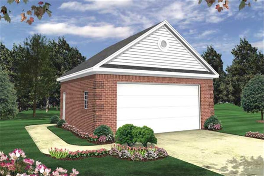 This is an artist's rendering of the front of these Garage Plans.