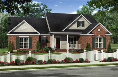 This is a colored front elevation of these Traditional Homeplans.