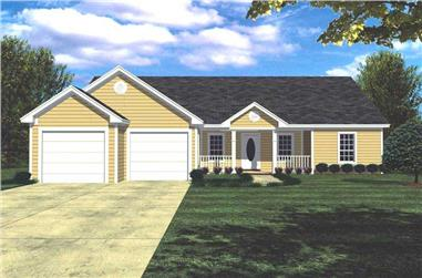 Color rendering of Country Ranch home plan (ThePlanCollection: House Plan #141-1152)