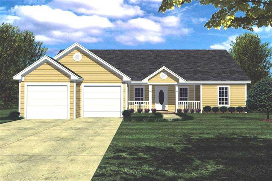 141 1152 color rendering of country ranch home plan theplancollection house plan 141 1152 - Small Ranch House Plans