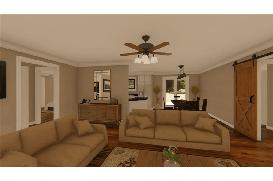Living Room of this 3-Bedroom,1400 Sq Ft Plan -141-1152
