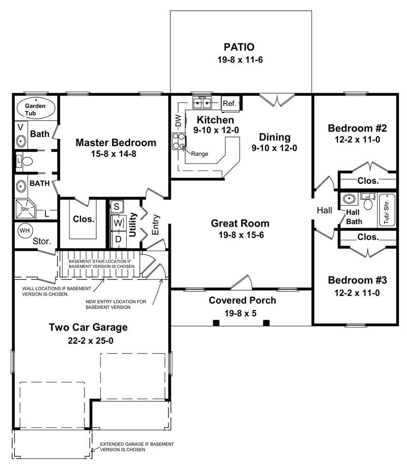 3 bedrm 1400 sq ft country house plan 141 1152 for Home plans floor plans