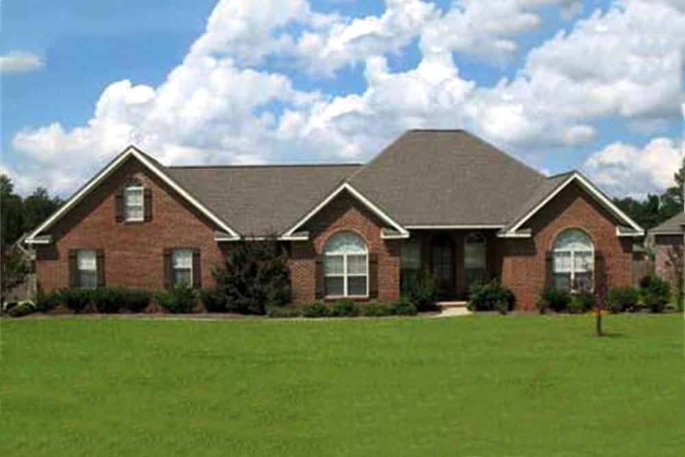 House Plan #141-1153 –color photograph of European Ranch Home Plan
