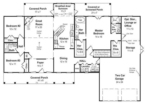 TANDEM GARAGE PLANS   Over House PlansPlan     Ranch w  Walk in pantry   Car tandem Garage