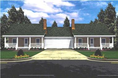 1-Bedroom, 1200 Sq Ft Transitional House Plan - 141-1155 - Front Exterior