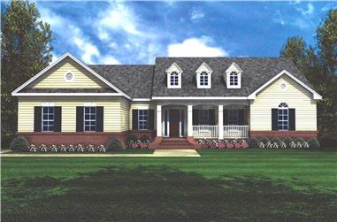 3-Bedroom, 2002 Sq Ft Country Home Plan - 141-1159 - Main Exterior
