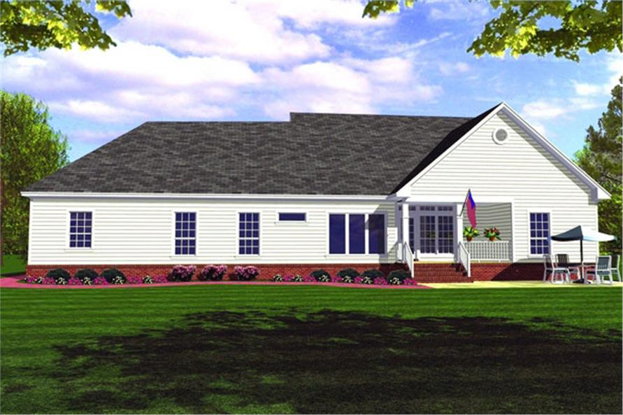 Home Plan Rear Elevation of this 3-Bedroom,1852 Sq Ft Plan -141-1161
