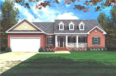 3-Bedroom, 1800 Sq Ft Ranch House Plan - 141-1162 - Front Exterior