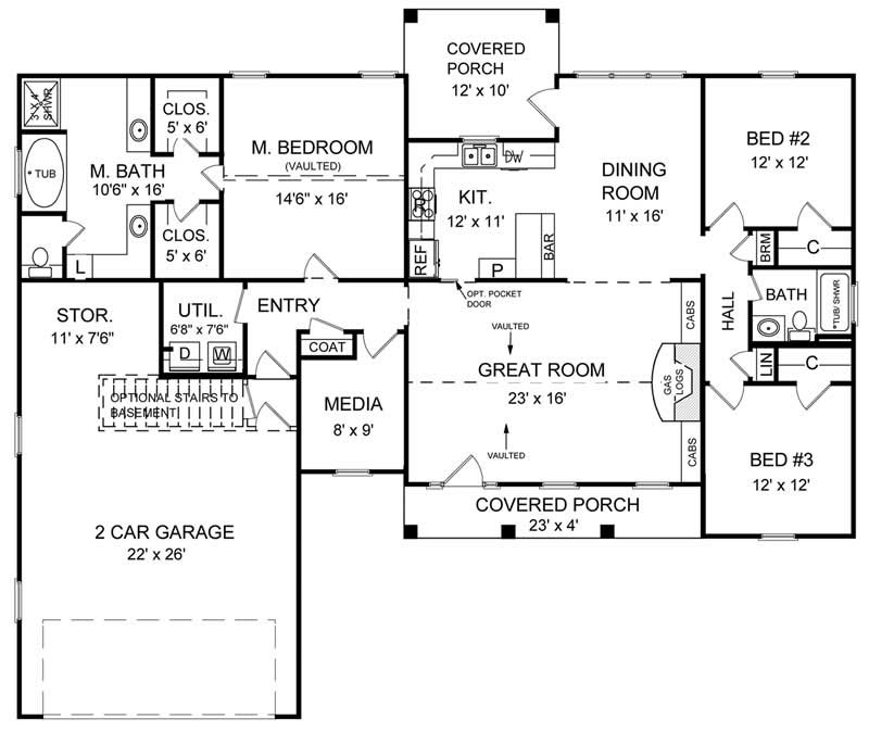 Ranch traditional house plans home design hpg 1800 2 7838 for 1800 sq ft floor plans