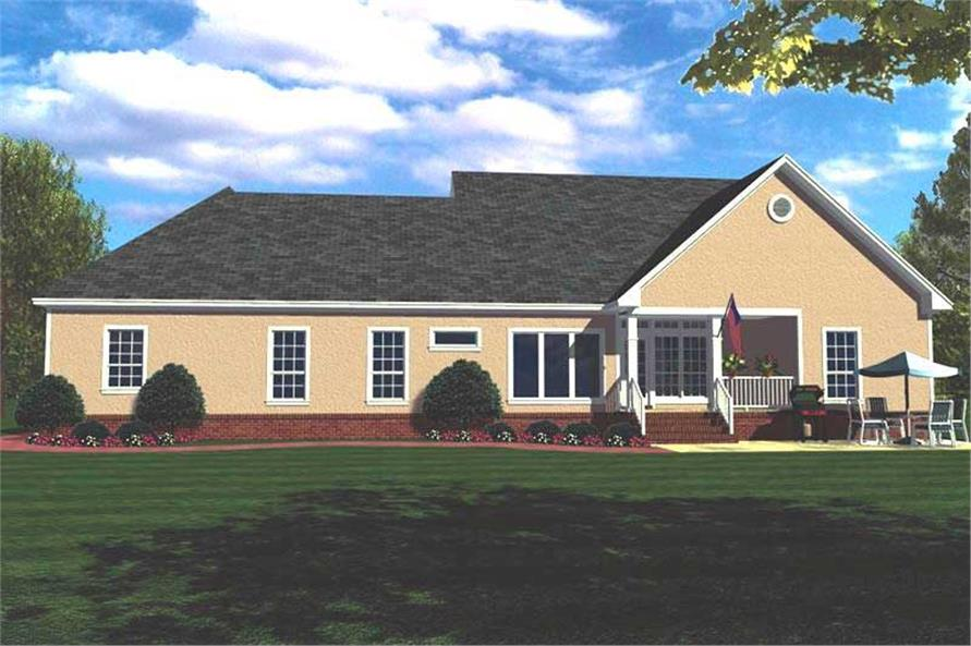 Home Plan Rear Elevation of this 3-Bedroom,1799 Sq Ft Plan -141-1164