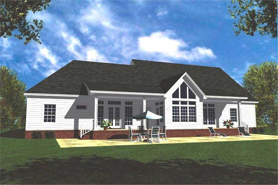 Home Plan Rear Elevation of this 4-Bedroom,2505 Sq Ft Plan -141-1165