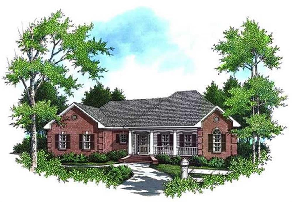 Color rendering of Ranch home plan (ThePlanCollection: House Plan #141-1166)