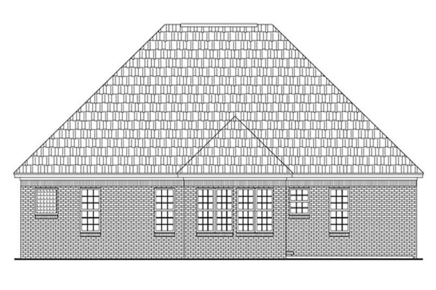 Home Plan Rear Elevation of this 3-Bedroom,1502 Sq Ft Plan -141-1168