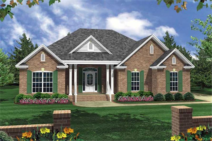 3-Bedroom, 1502 Sq Ft Country Home Plan - 141-1168 - Main Exterior