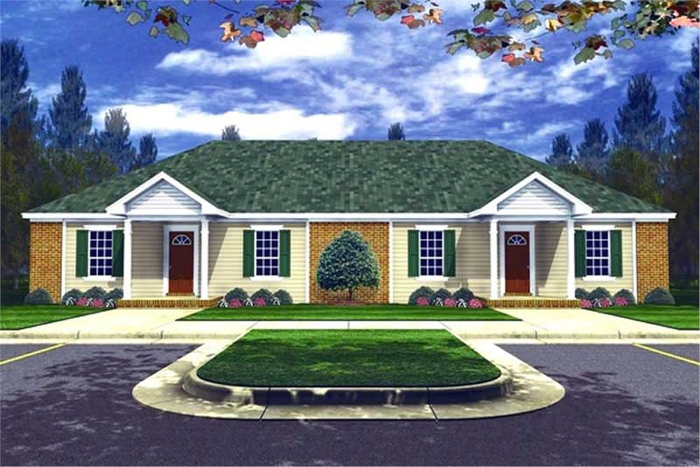 Front elevation of Multi-Unit home (ThePlanCollection: House Plan #141-1169)