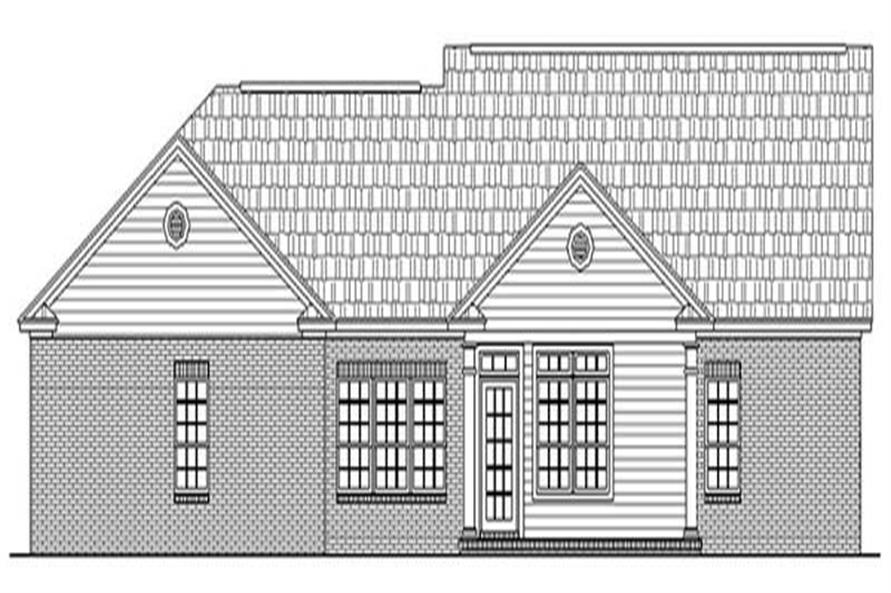 Home Plan Rear Elevation of this 3-Bedroom,1700 Sq Ft Plan -141-1174