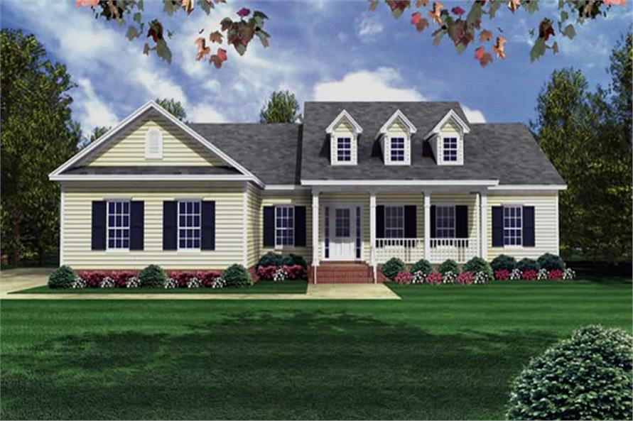 141 1175 color rendering of country home plan theplancollection house plan 141 1175 - Traditional Country Homes