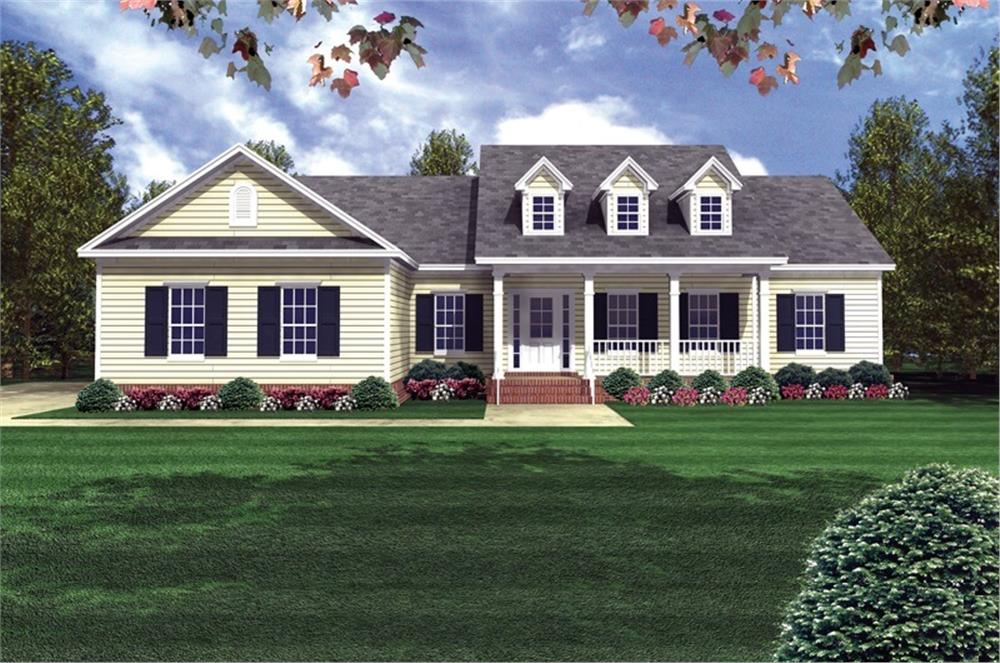 Color rendering of Country home plan (ThePlanCollection: House Plan #141-1175)