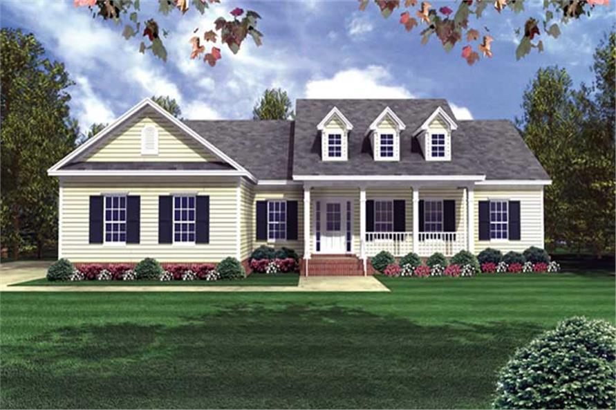 3-Bedroom, 1818 Sq Ft Country House Plan - 141-1177 - Front Exterior