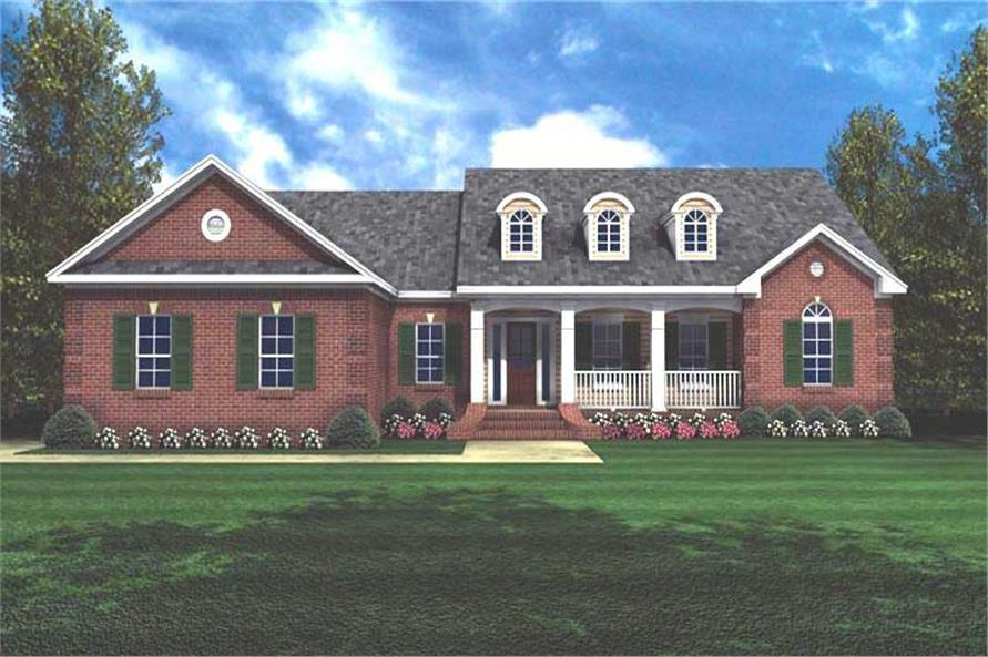 3-Bedroom, 1751 Sq Ft Country House Plan - 141-1180 - Front Exterior
