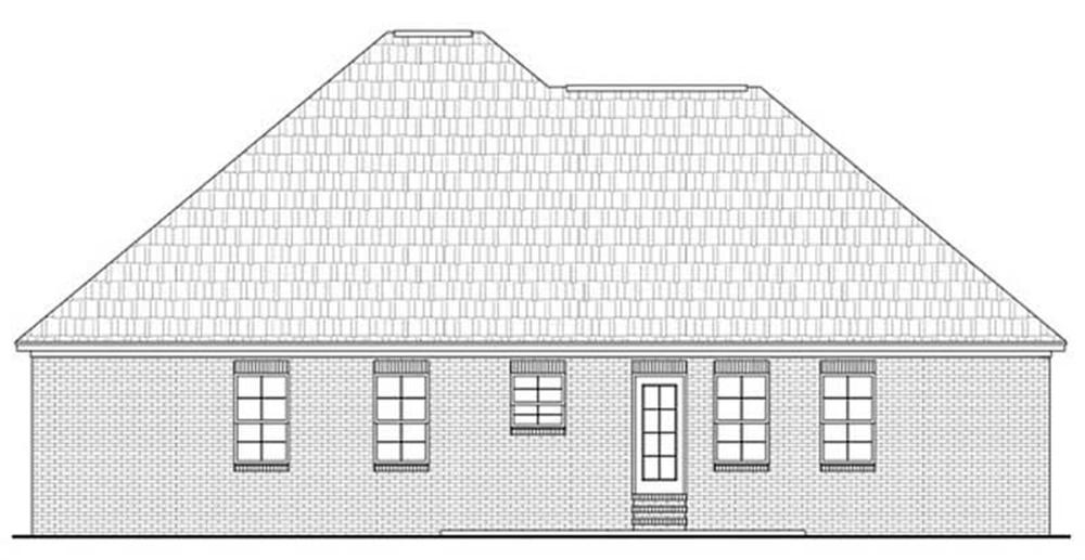 House Plan HPG-1750B-1 Rear Elevation