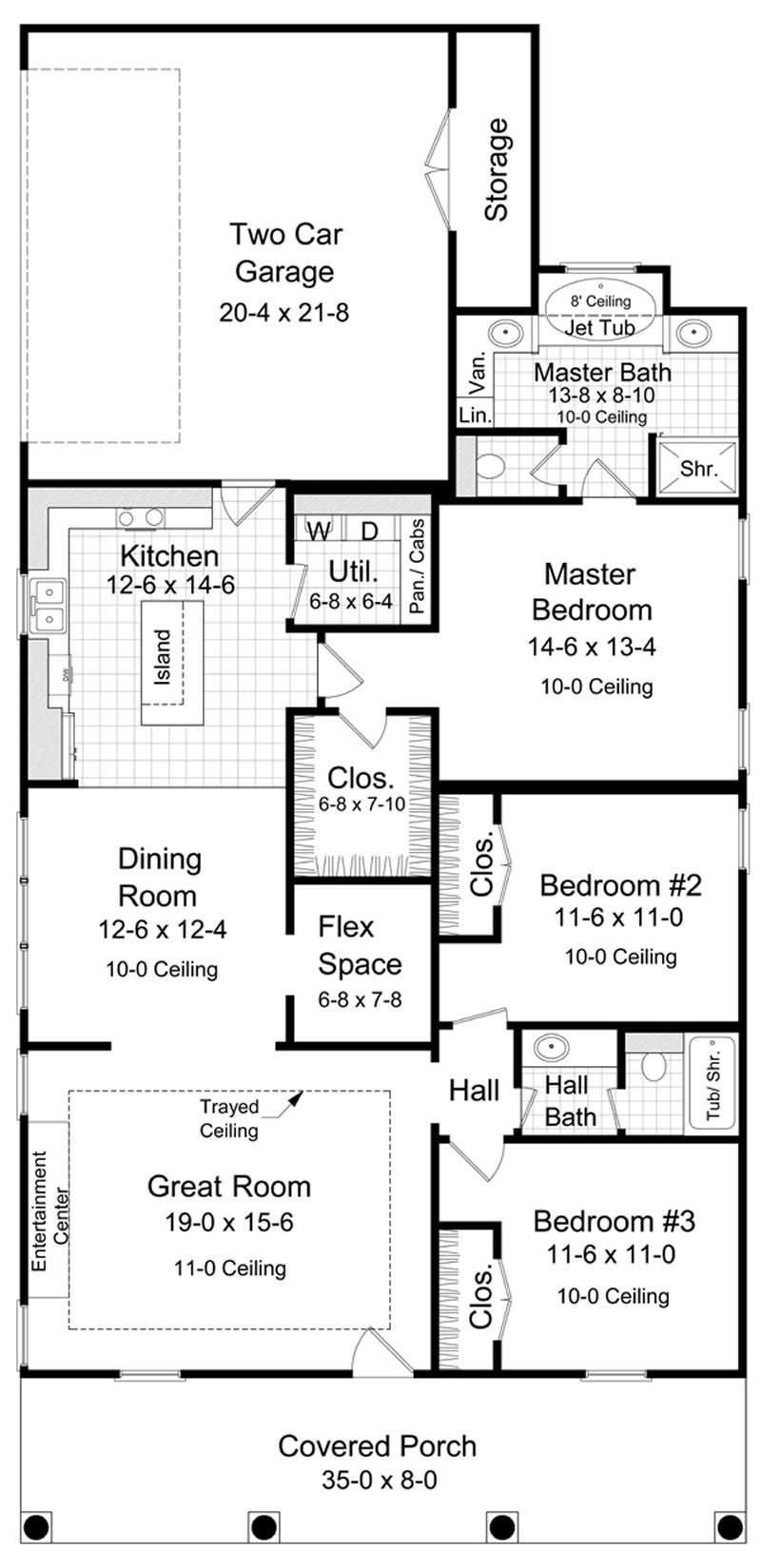 European, Bungalow House Plans - Home Design HPG-1650-1 # 9310