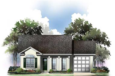 2-Bedroom, 1001 Sq Ft Country House Plan - 141-1193 - Front Exterior