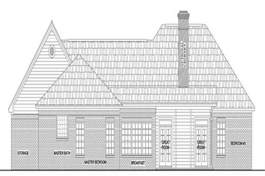 Home Plan Rear Elevation of this 3-Bedroom,1638 Sq Ft Plan -141-1196