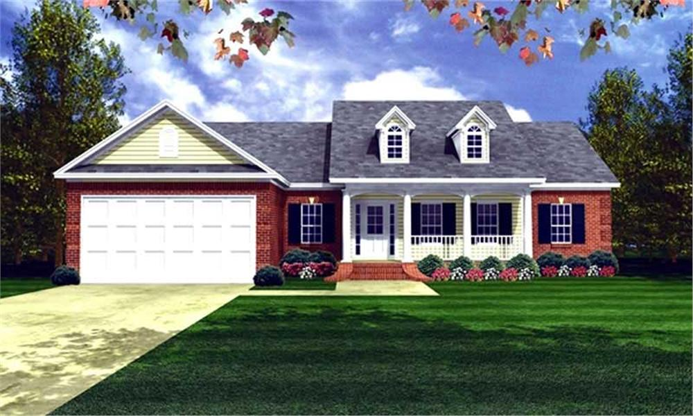 Front elevation of Country home (ThePlanCollection: House Plan #141-1197)