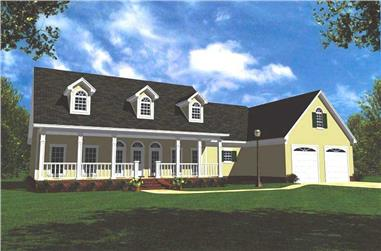 3-Bedroom, 2100 Sq Ft Country Home Plan - 141-1203 - Main Exterior