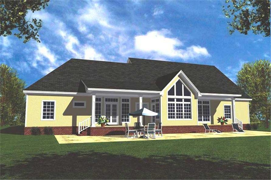 Home Plan Rear Elevation of this 3-Bedroom,2100 Sq Ft Plan -141-1203