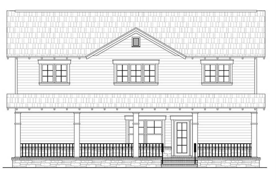 Home Plan Rear Elevation of this 4-Bedroom,2300 Sq Ft Plan -141-1209