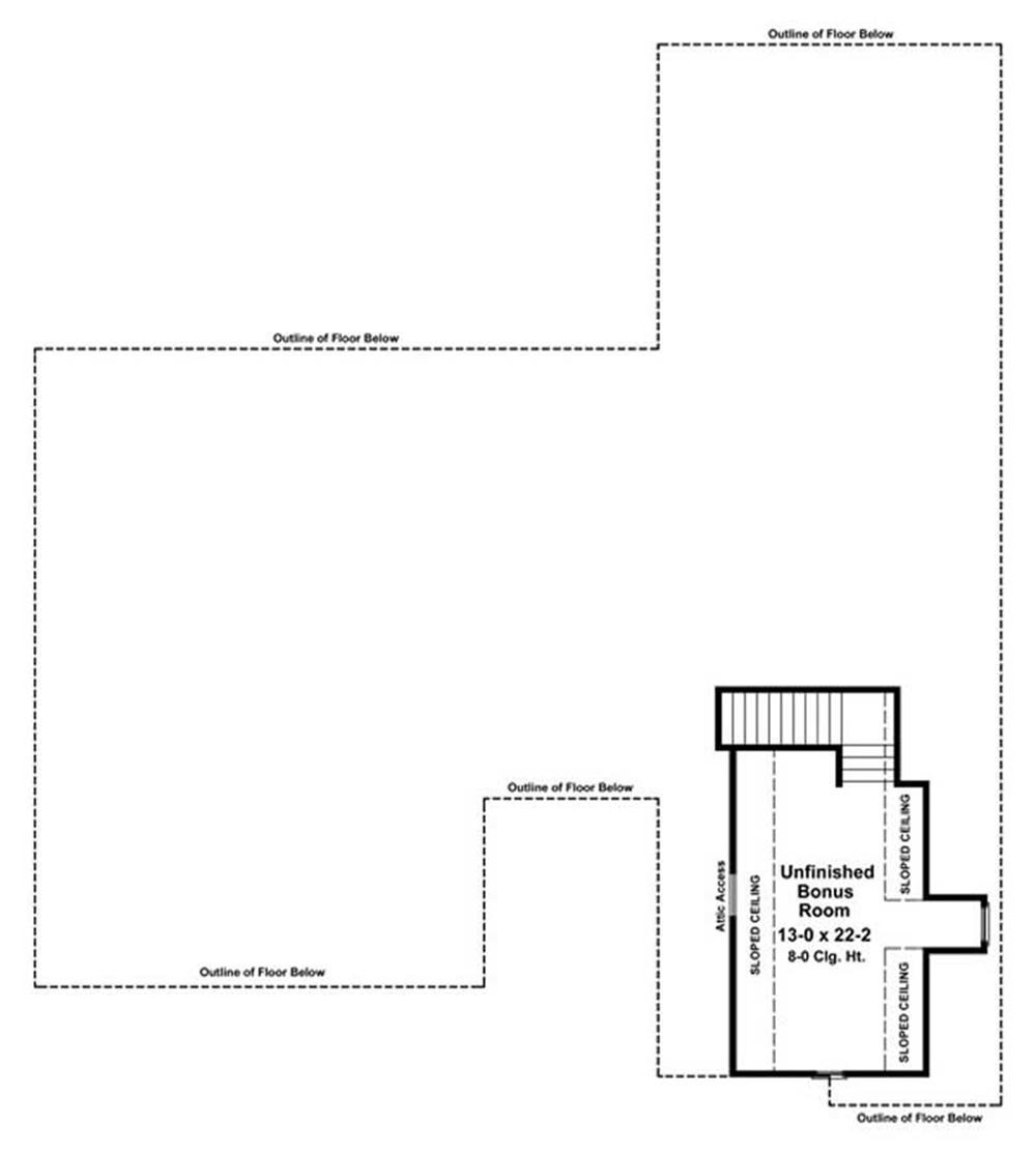 House Plan HPG-2500-1 Bonus Room Floor Plan