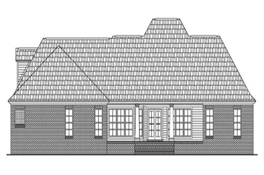 Home Plan Rear Elevation of this 4-Bedroom,2501 Sq Ft Plan -141-1212