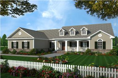 3-Bedroom, 2019 Sq Ft Country Home Plan - 141-1215 - Main Exterior