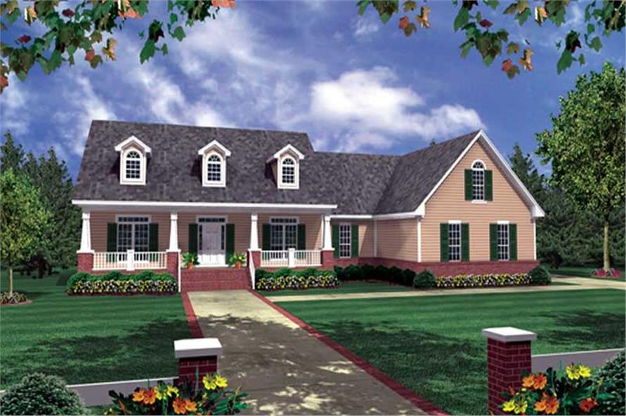 3-Bedroom, 2008 Sq Ft Country House Plan - 141-1217 - Front Exterior