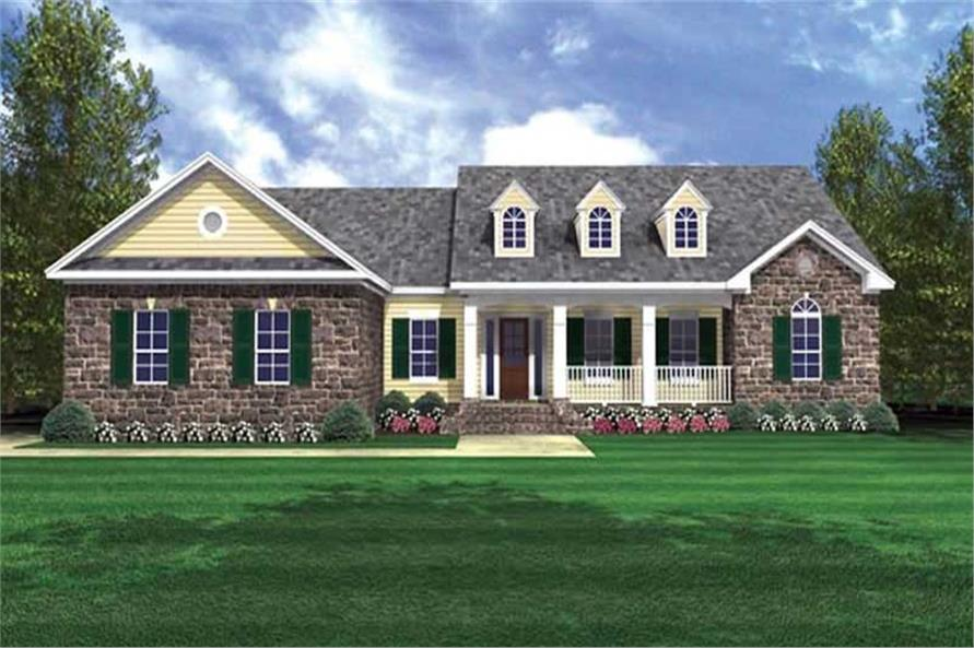 3-Bedroom, 2103 Sq Ft Country House Plan - 141-1219 - Front Exterior